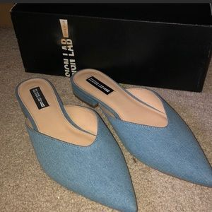 Shoes - DESIGN LAB Denim Pointed Toe Flats